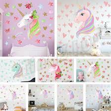 cross border ins dormitory wall decoration warm bedroom wall decoration rainbow unicorn wallpaper wall sticker decorative stickers t5i6009 mirror decals