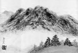 sumi e practice mountain scenery by mib4art