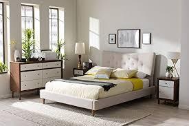 Baxton Studio Heélène Mid Century Modern Beige Linen Platform Bed FLinen Platform Bed