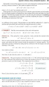 if the equation of a circle is given b 4 or 5