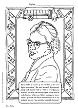 See all of our preschool color activities! Rosa Parks Coloring Page Teachervision
