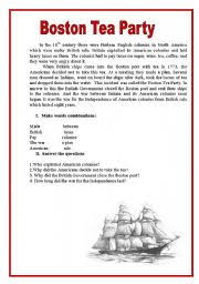 worksheet boston tea party english worksheet boston tea party