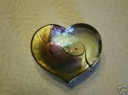 robert held art glass heart paperweight signed