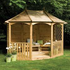 Garden & Landscape:Wooden Simple Gazebo For Backyard Modern Garden Gazebo  Design Ideas