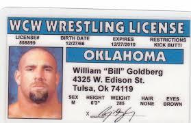 Collectors Card Drive Goldberg Bill Novelty Wresting Id