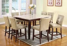 acme britney 9 pc square marble top counter height table set