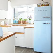 Small White Kitchen Small White Kitchen With Retro Blue Fridge Ideal Home