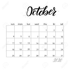 October Monthly Calendar For 2020 Year Handwritten Modern Calligraphy