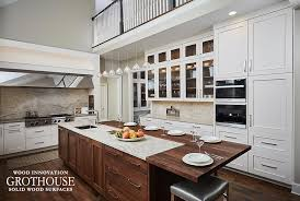 this walnut wood countertop was made by grothouse inc for a transitional kitchen in michigan