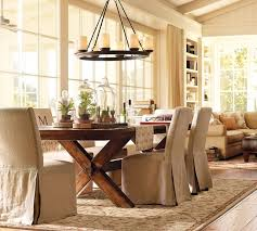 dining room interior beige fabric dining chairs covers with reclaimed wood dining table also
