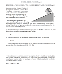 part b the inclined plane exercise 4 problem solving rolling down an inclined