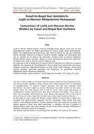 PDF) Comparison of Leylâ and Mecnun Stories Written by Fuzulî and Reşat  Nuri Güntekin