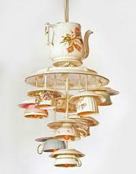 antique pendant lights made from recycling tea cups and tea pots