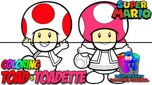 How to Color Toad and Toadette - Super Mario Nintendo Coloring ...