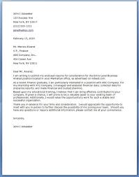 Business Analyst Cover Letter Entry Level