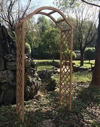 wooden garden arch archway elegant decorative tan natural wood woodside