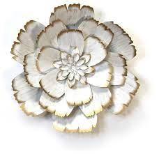 stratton home decor white metal flower