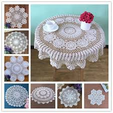 white round tablecloth vintage crochet cotton lace table cloth cover doilies