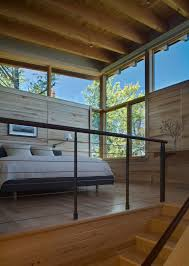 view in gallery modern cabin with wooden paneling