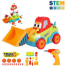 lukat take a part toys truck embly toy car truck construction bulldozer toys 3 4 5 years old boys s diy toddler toys lights drill on