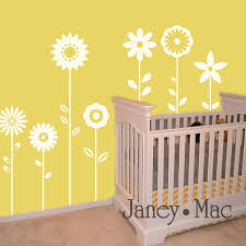 charming home interior decoration with stencil wall arts magnificent baby nursery room decoration with yellow  on nursery wall art stencils with decoration ideas black lovely flower on light grey wall painting
