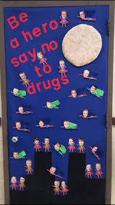 Drug Free Door. Superheroes say no to drugs.