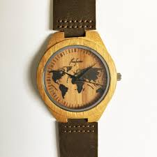 wooden watch world map watch wood watches mens watch personalized watch groomsmen gift travel gift unique leather