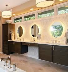 bathrooms ultra modern bathroom with long floating vanity cabinet and modern wall mirror with lightings