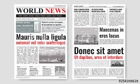 Newspaper Template Design With Images Mock Up Of Two Pages