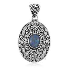 bali legacy collection australian boulder opal sterling silver fl engraved pendant without chain tgw 1 76 cts lc