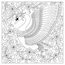 Hand Drawing Artistic Swan In Flowers For Adult Coloring Pages Stock