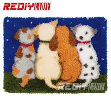latch hook rug kits diy needlework unfinished crocheting rug yarn cushion mat the dog friends embroidery