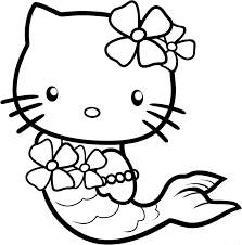 Cute Hello Kitty Coloring Pages As A Mermaid Cartoon Coloring