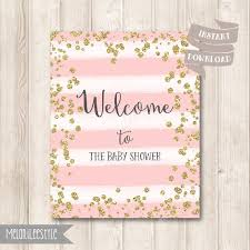 Pink And Gold Confetti Baby Sprinkle Welcome Signs Sprinkle Etsy