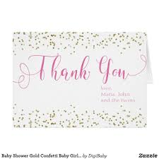 Baby Thankyou Baby Shower Gold Confetti Baby Girl Thank You Note Cards For Baby