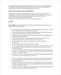Personnel Management Job Description Sample Hr Manager Job Description 10 Examples In Pdf