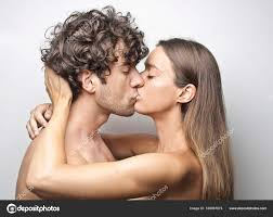 caucasian cute couple kissing photo by olly18
