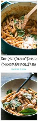 one pot creamy tomato en spinach pasta with