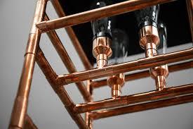 detail of the copper tubing floor lamp