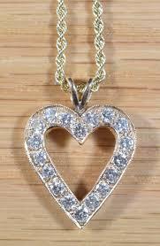 14k gold diamond heart pendant on 18 inch 14k rope chain 5088 premier precious metals