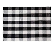 shacos large cotton area rug 4 x6 black white plaid cotton woven rug for living room bedroom doorway 4 x 6 black white