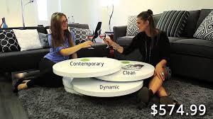 swivel gloss white rondo coffee table contemporary design fun