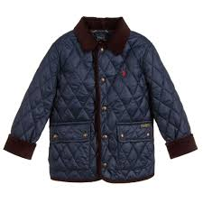 Kids Designer Coats Boys Navy Blue Quilted Jacket For Boy By Polo Ralph Lauren