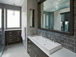 bathroom backsplash tiles. Bathroom With Rectangular Sink And Grey Backsplash Tiles : Stunning Wearefound Home Design