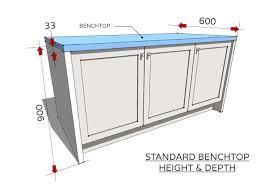 standard benchtop height depth
