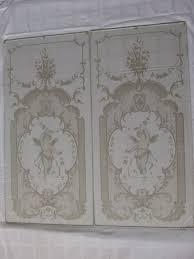 two etched glass door panels cherubs the netherlands ca 1870
