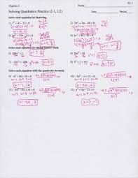 algebra ii quadratic equations matching activity answers 2nd grade