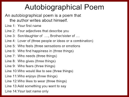 give example of written autobiography sendletters info  example of a student autobiographical poem rules