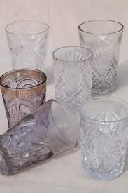 collection of antique vintage pressed pattern glass tumblers cut glass patterns