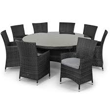 milan baby rattan outdoor garden furniture 8 seater grey round dining table set